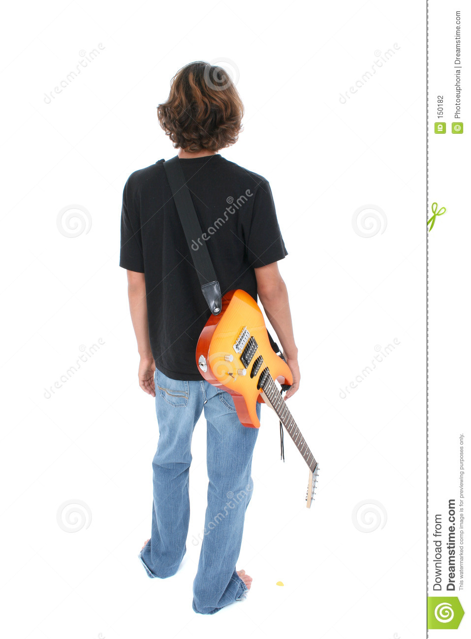 Back Side Of Teen Boy With Electric Guitar Over White. Shot in studio ...