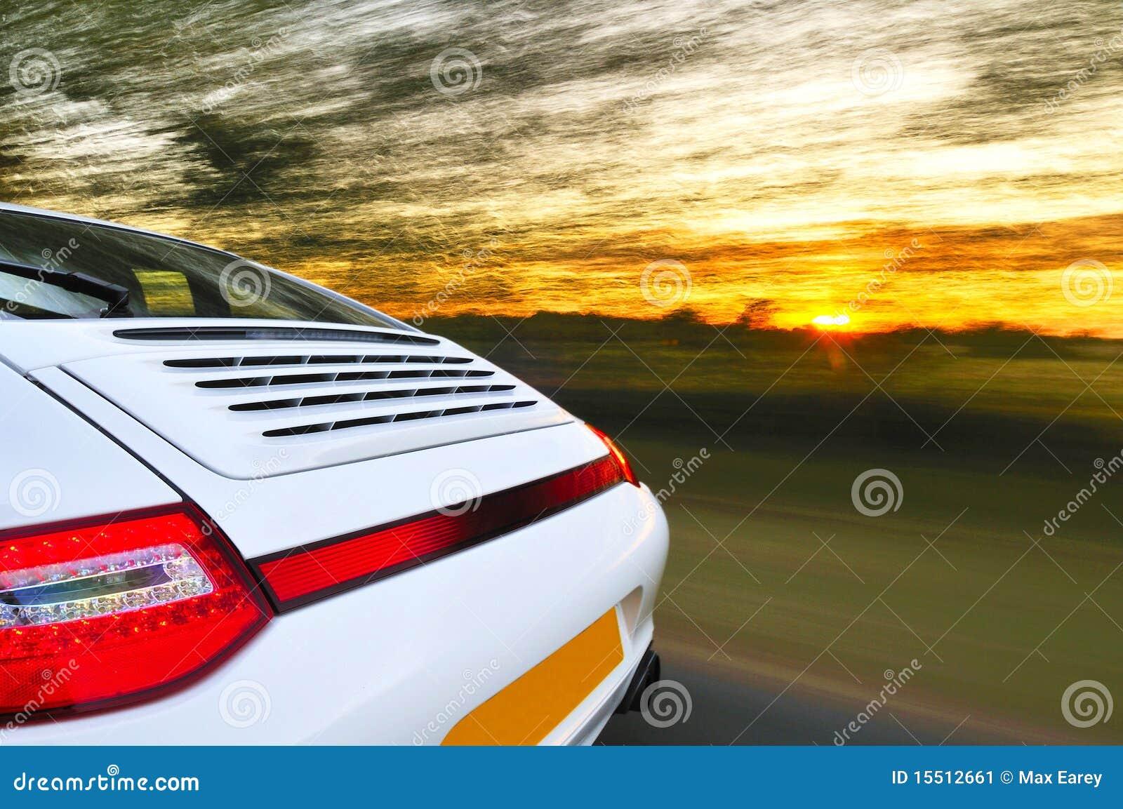 Back of speeding car
