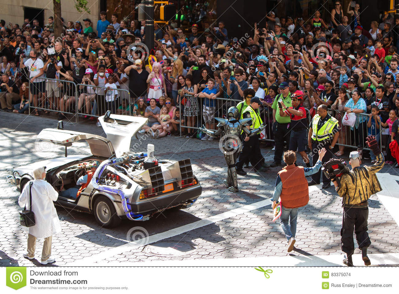 Back To The Future Characters Participate In Dragon Con Parade
