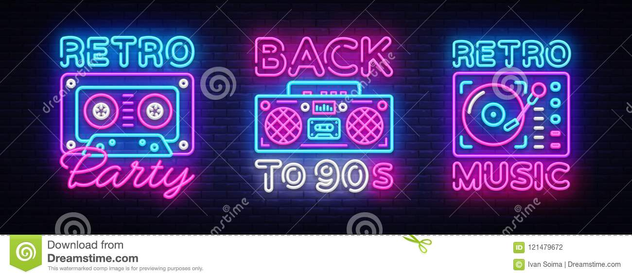 Back to 90s neon poster collection, card or invitation, design template. Retro tape recorder cassettes neon sign