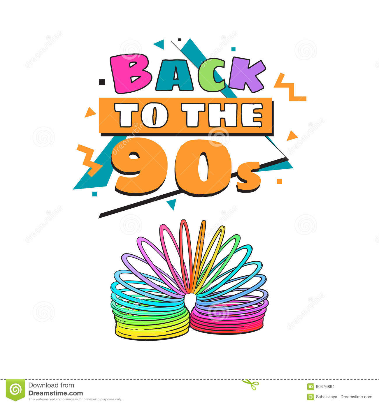 Back To 90s Poster Template With Rainbow Colored Spring