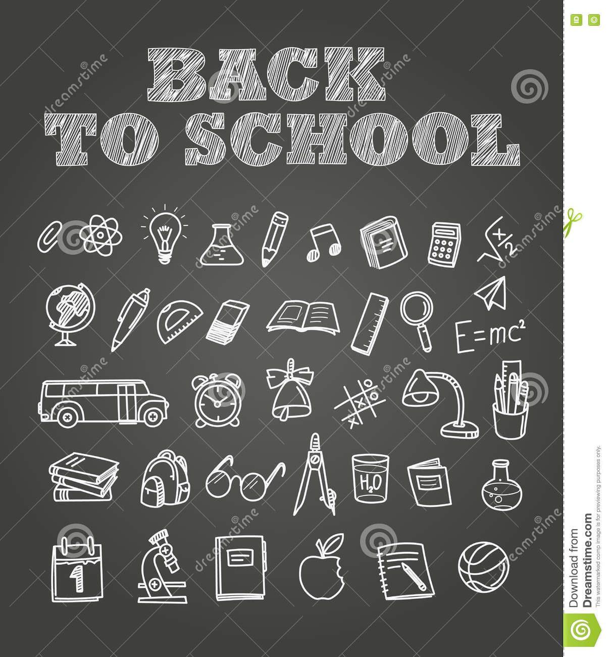 Back To Scholl Chalk Doodles Education Elements Clip Art