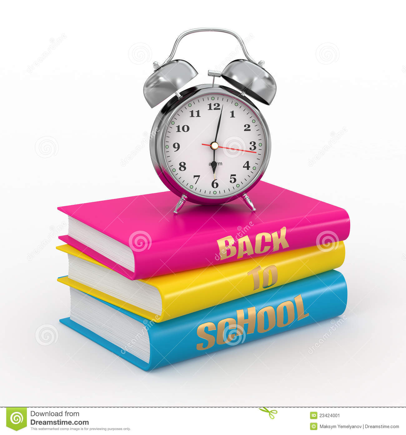 Back To School  Alarm Clock On Books  Stock Illustration