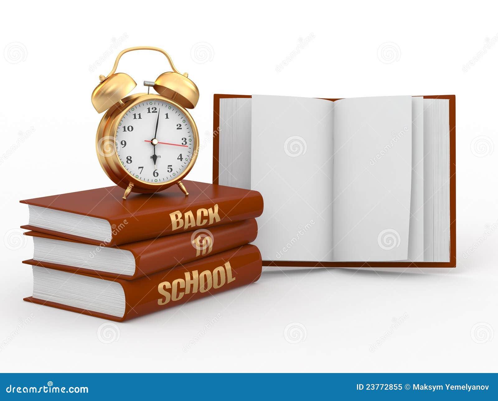 back to school  alarm clock on books  royalty free stock
