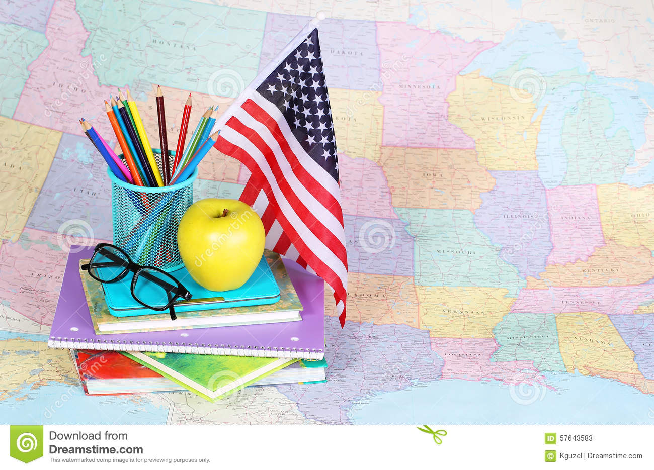 Back To School An Apple Colored Pencils American Flag Stock