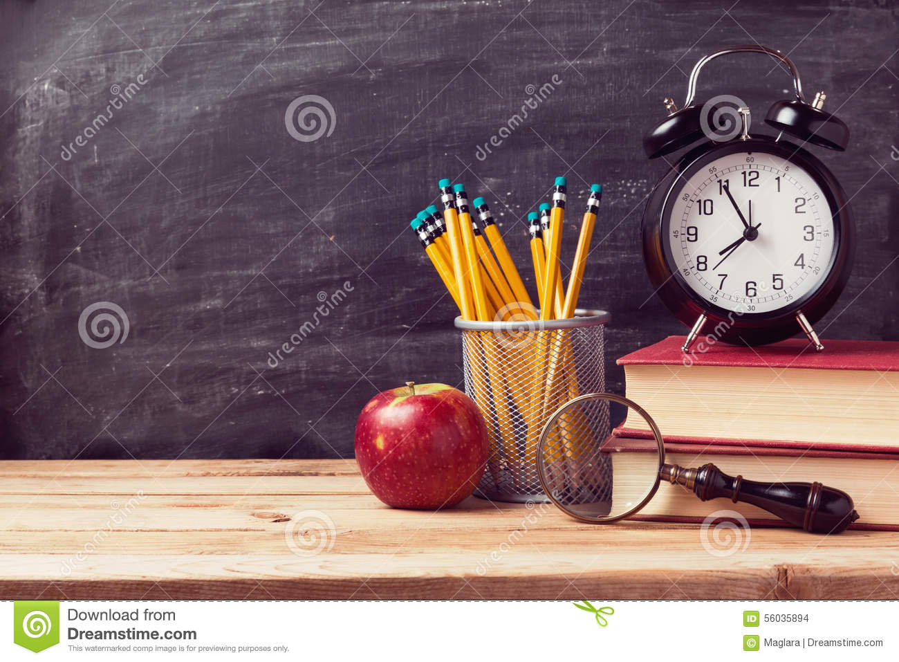 Download Back To School Background With Books And Alarm Clock Over Chalkboard Stock Photo - Image of background, book: 56035894