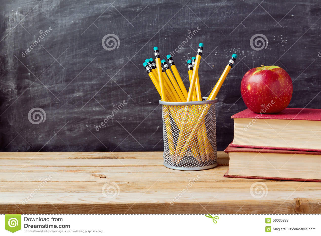 Download Back To School Background With Books, Pencils And Apple Over Chalkboard Stock Photo - Image of apple, read: 56035888