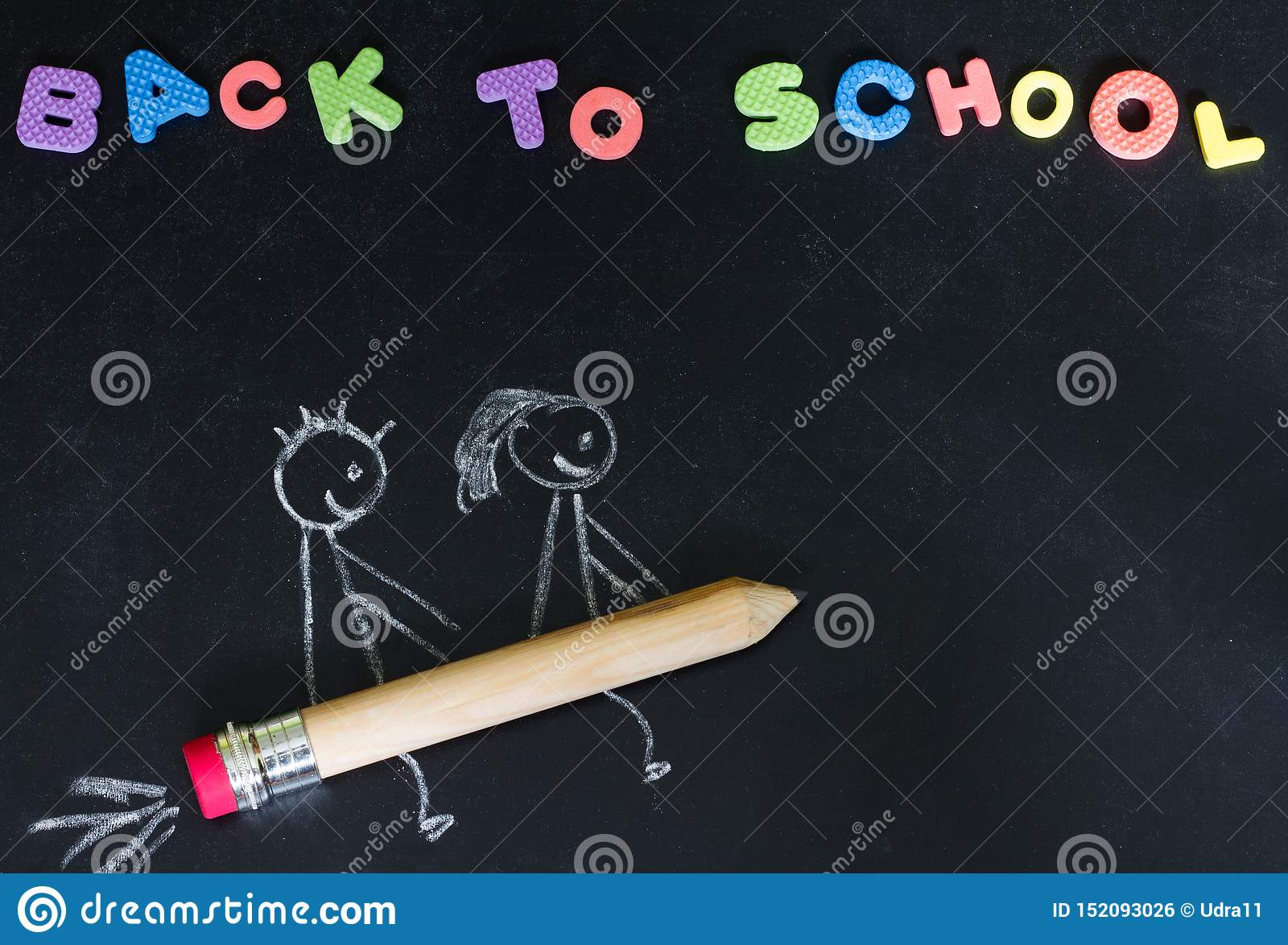 Back to school background concept with kids on the pencil rocket