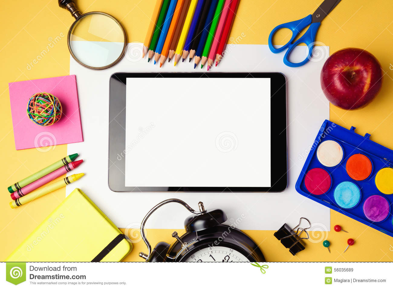 Back To School Background With Digital Tablet And School Supplies
