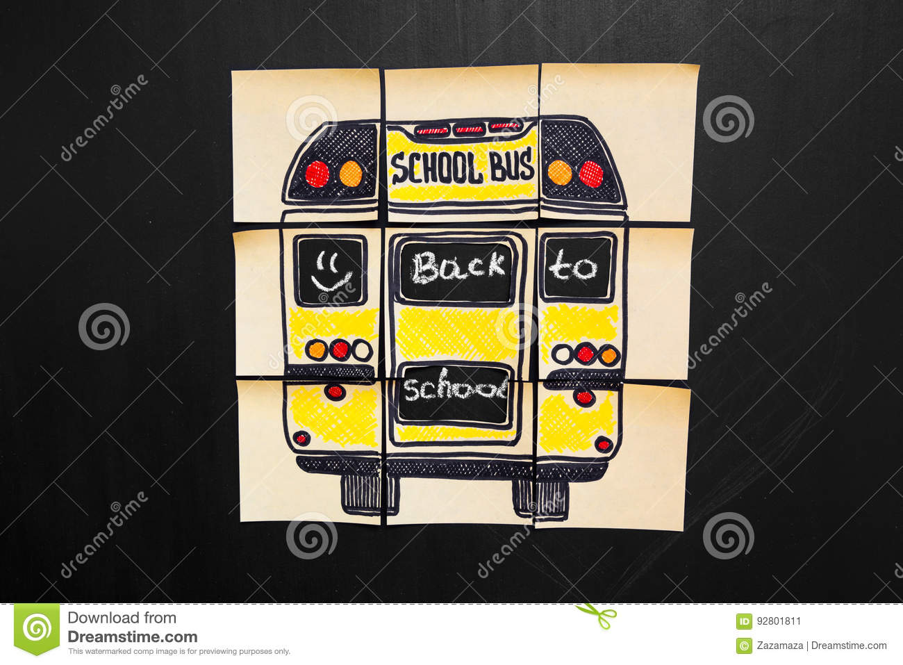 Back to school background with title `Back to school` and `school bus` written on the yellow pieces of paper