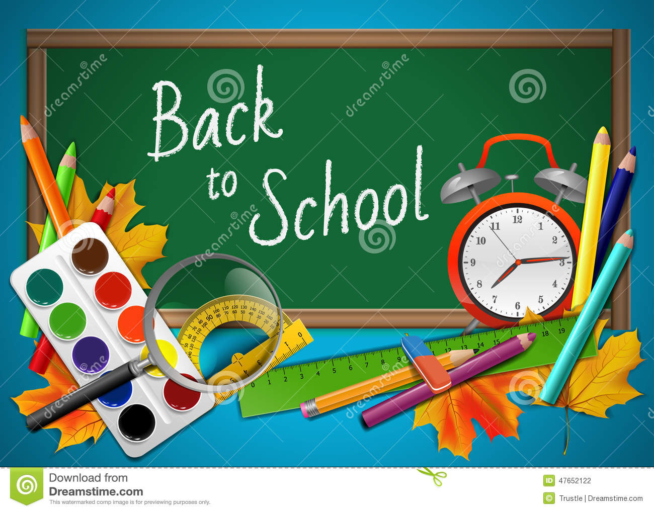 Back to school background with tools and board, vector illustration.