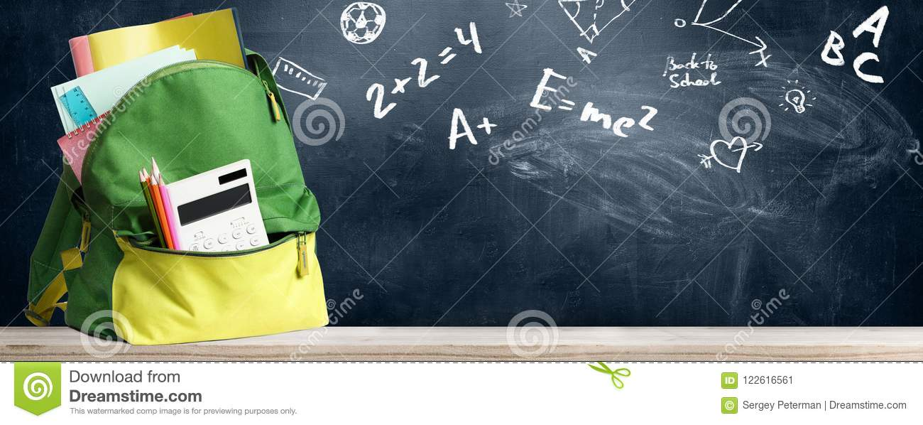 5ce2687736 Back to school shopping baackpack. Accessories in student bag against  chalkboard
