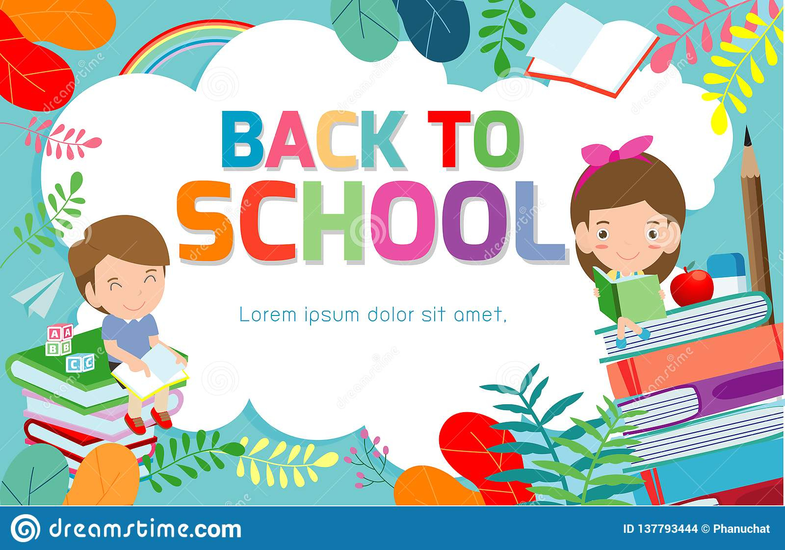 Back To School Banner Background Welcome Back To School Children Reading Book Cute School Kids Education Concept Stock Vector Illustration Of Advertising Crayon 137793444