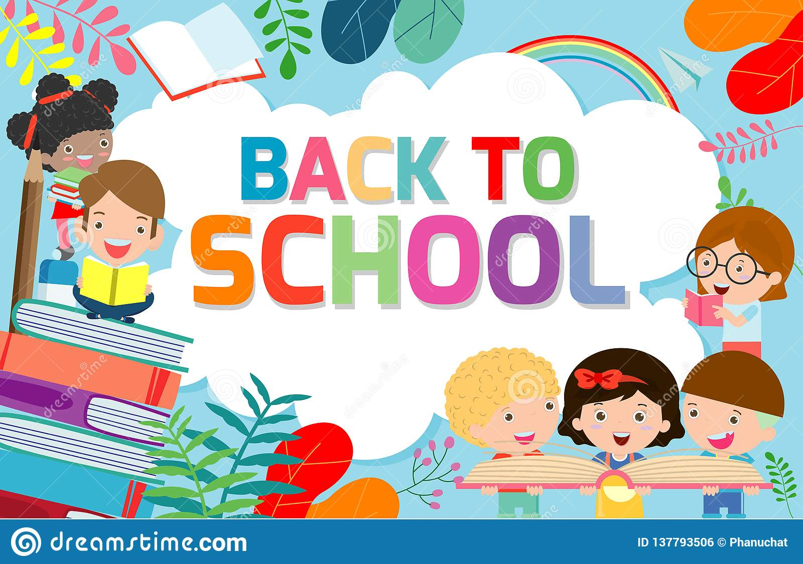 Back To School Banner Background Welcome Back To School Children Reading Book Cute School Kids Education Concept Stock Vector Illustration Of Brochure Certificate 137793506