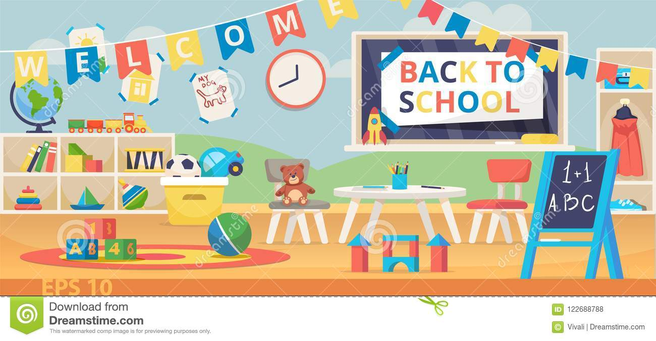 Back To School Banner Illustration First School Day Knowledge Day September 1 Preschool Classroom With Desk Chairs Stock Vector Illustration Of Knowledge Mathematics 122688788