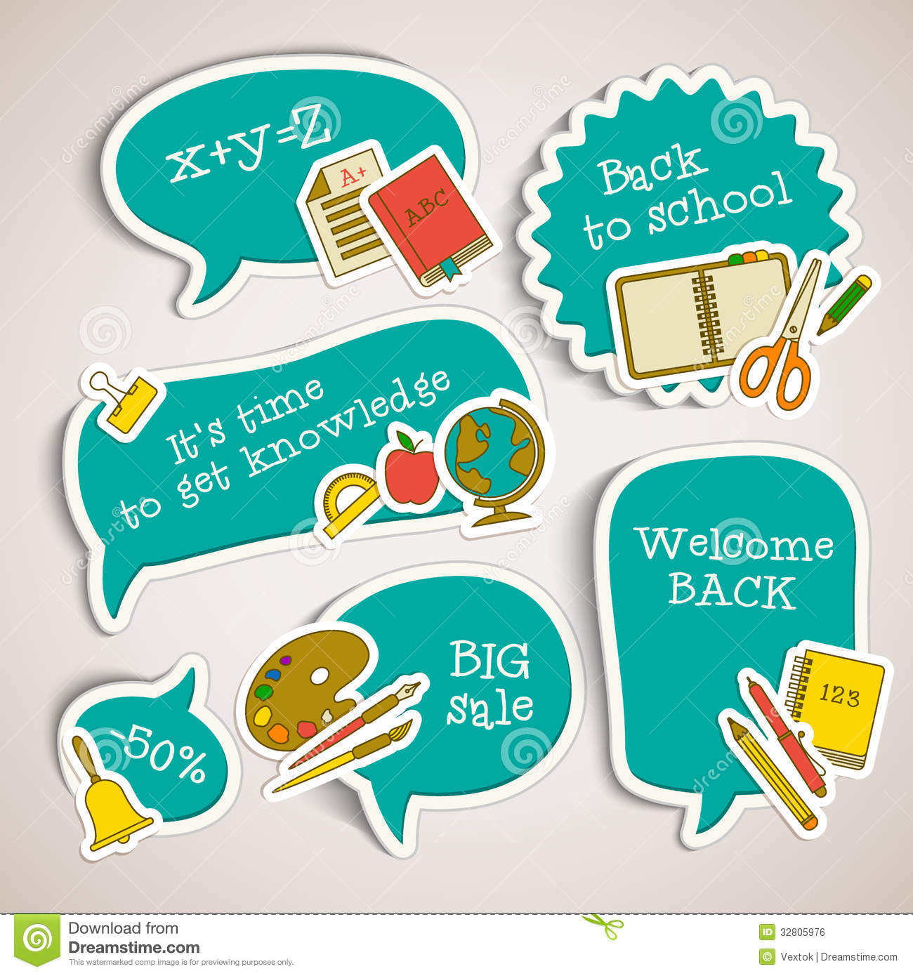Royalty Free Stock Image: Back to school banners set. Image: 32805976