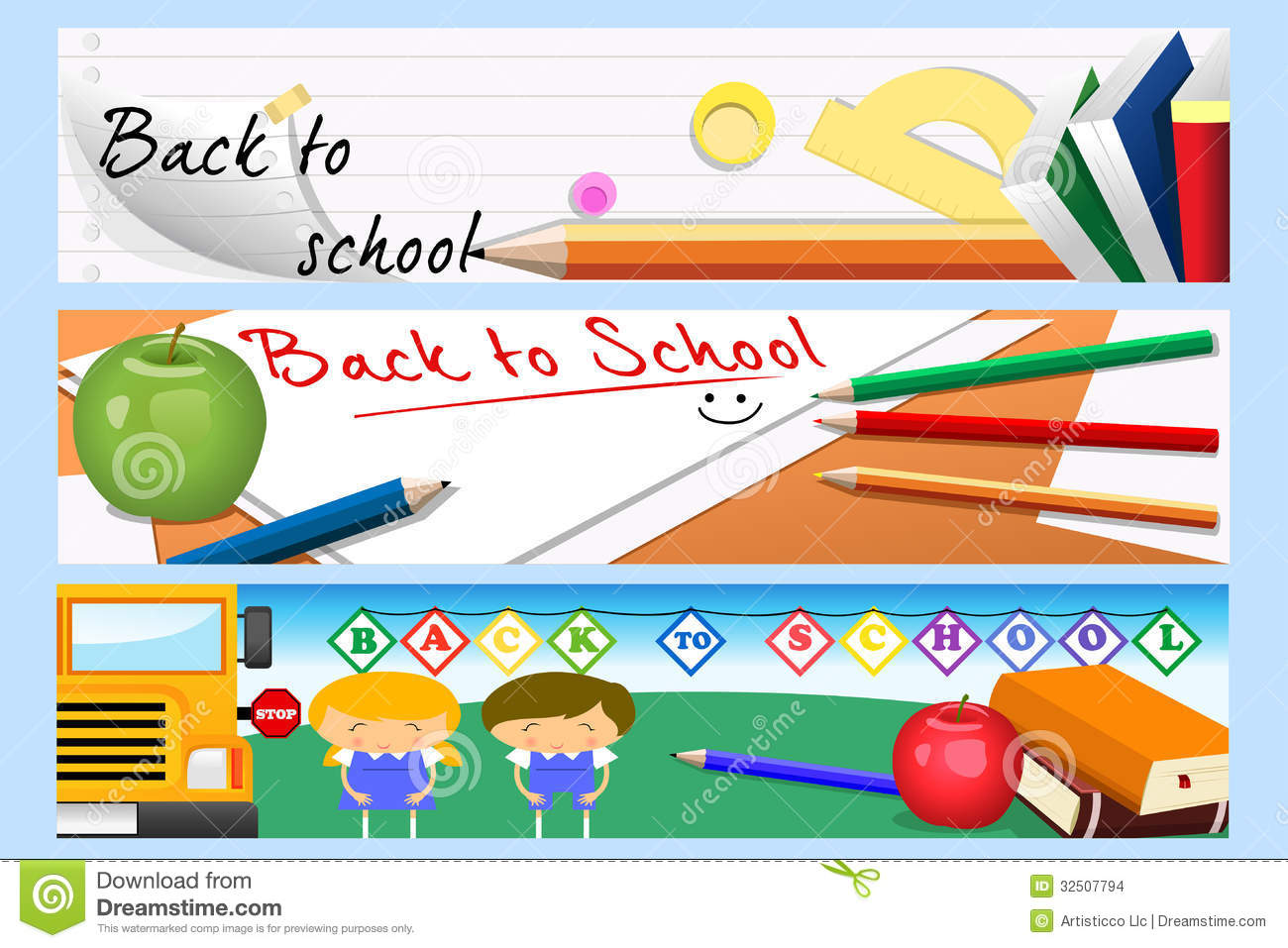 back to school banners stock images  image: 32507794