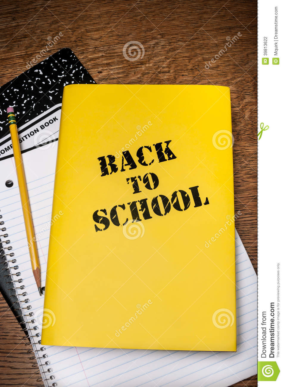 Book With Black And Yellow Cover : Back to school book with notepad stock photo image of