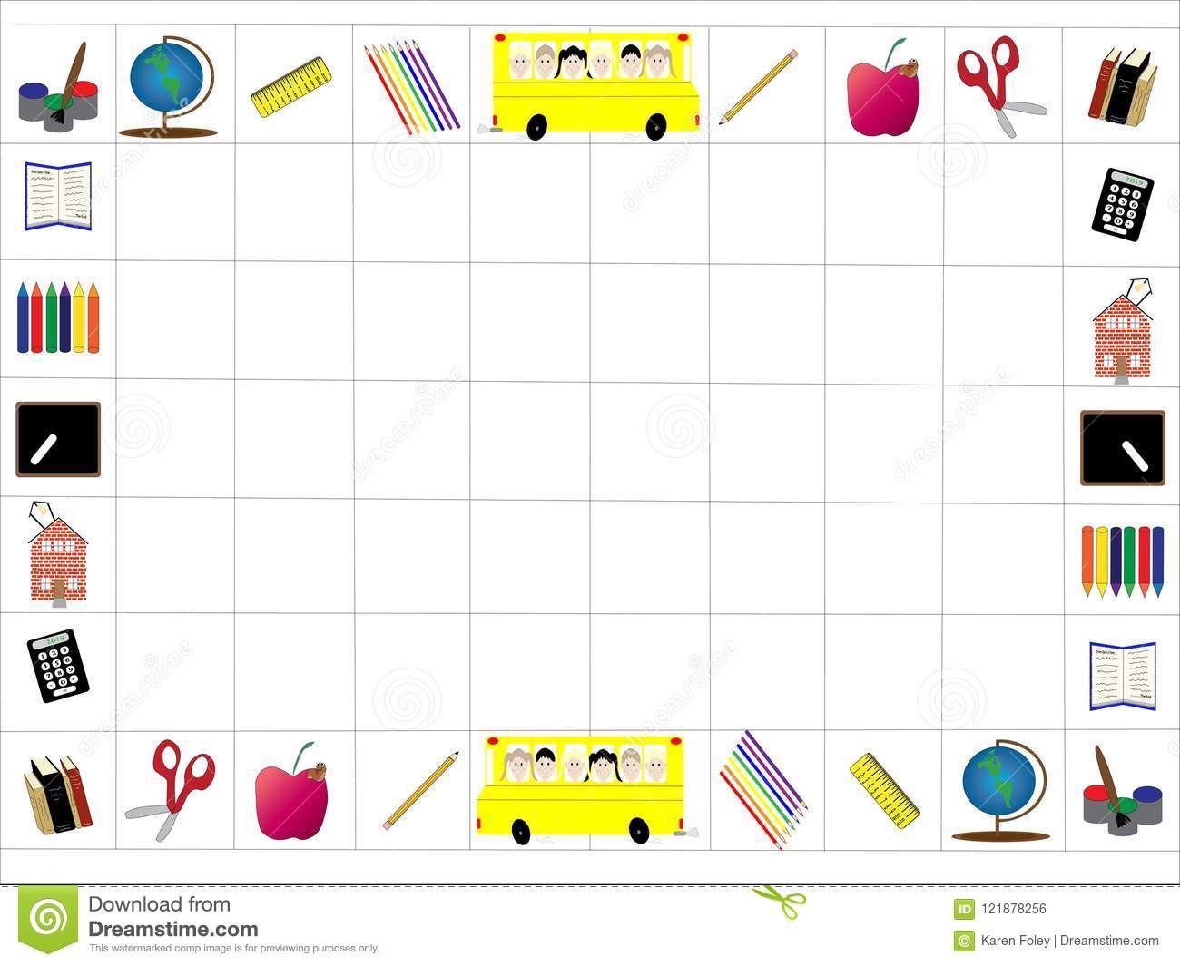 Back To School Border Or Frame With Grid Stock Vector - Illustration ...