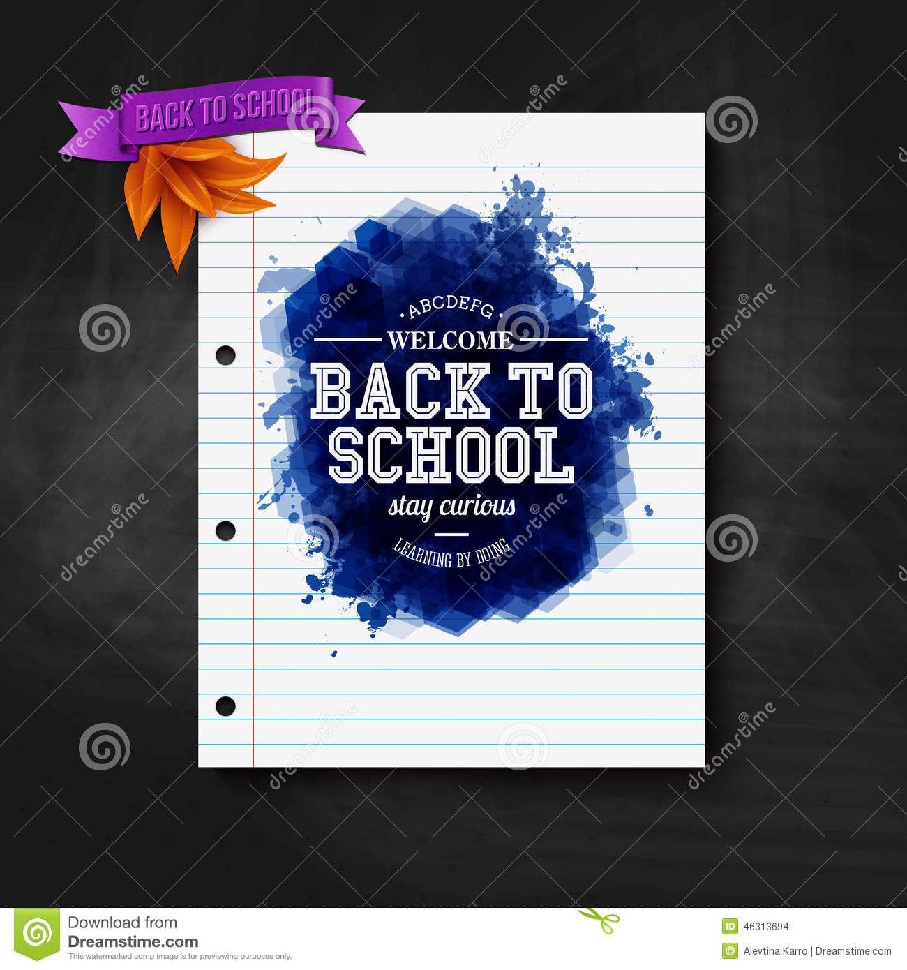 Back to school card chalkboard typography design stock images
