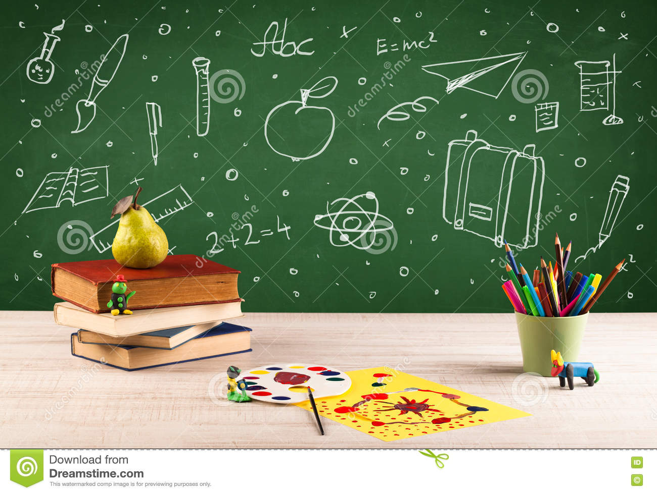 back to chalkboard and color pencils stock photo image