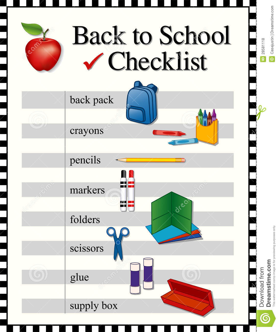 Back To School Checklist Royalty Free Stock Photos Image