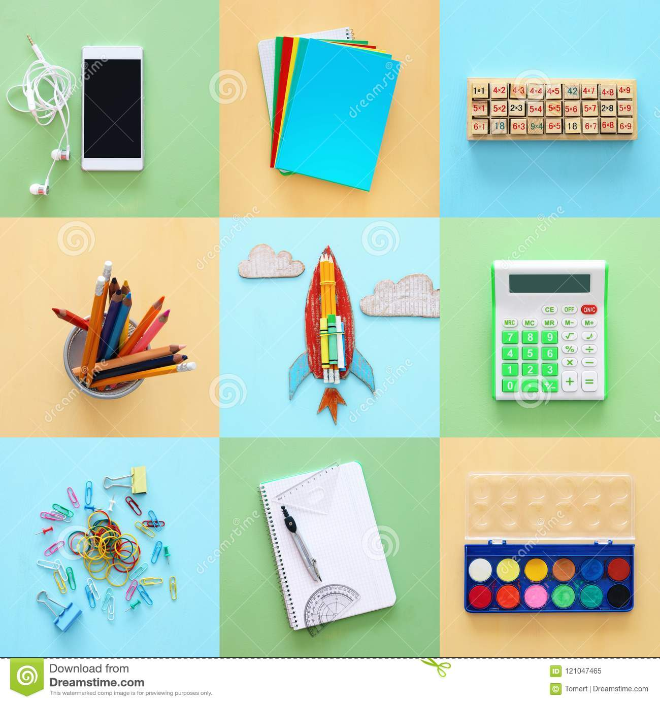 Back To School Collage Concept School Objects And Supply Stock
