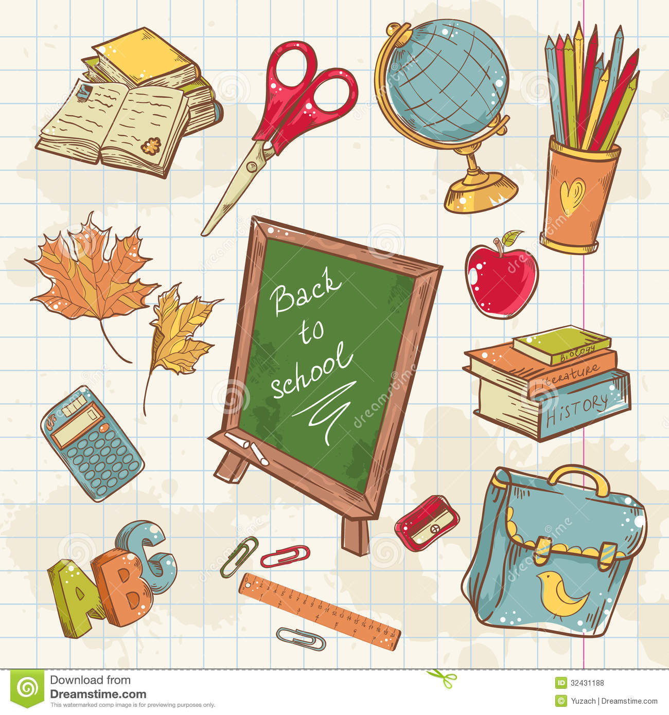 Back To School Collection With Various Study Items Stock
