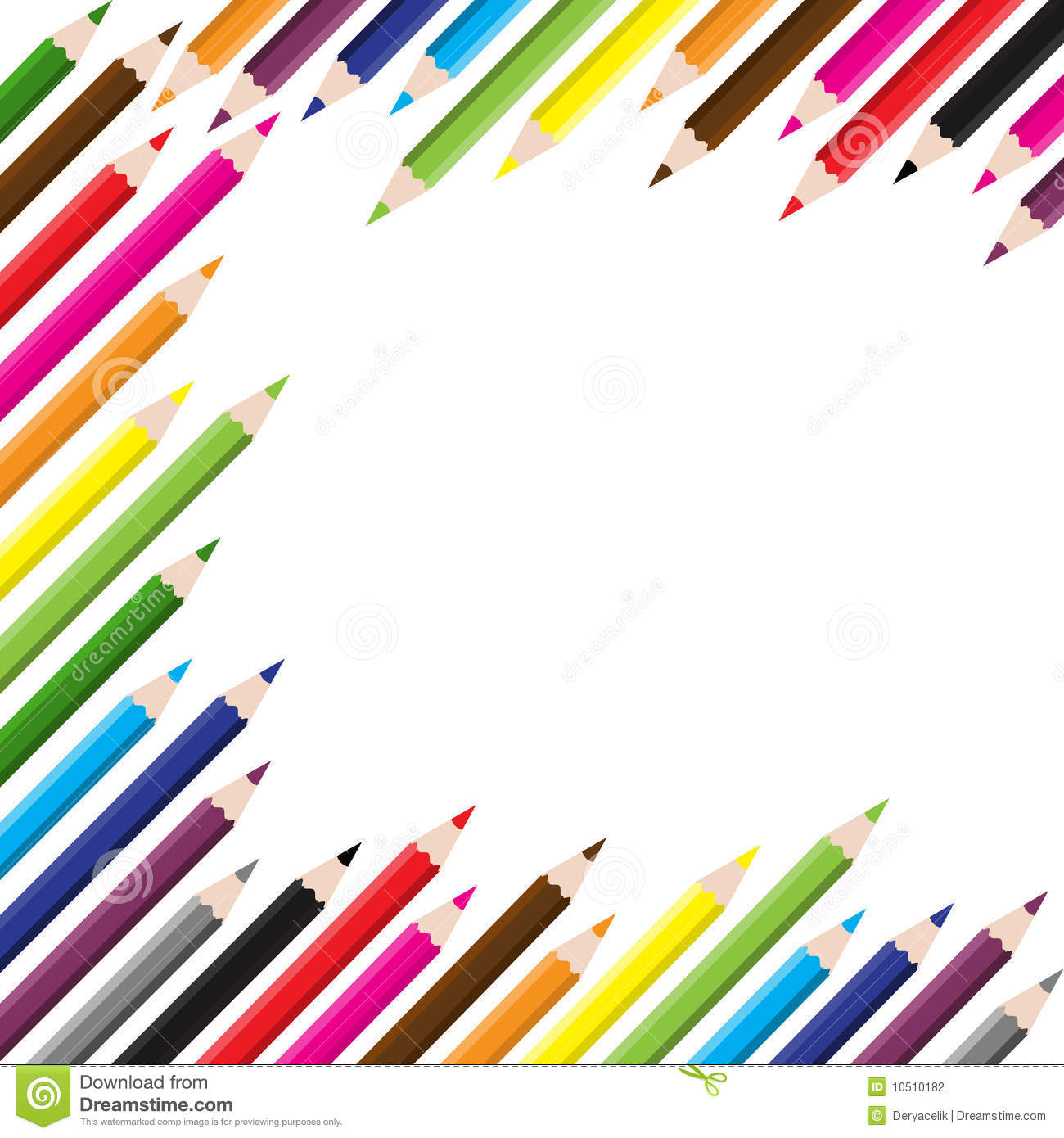 Back To School Colored Pencil Background Stock Vector