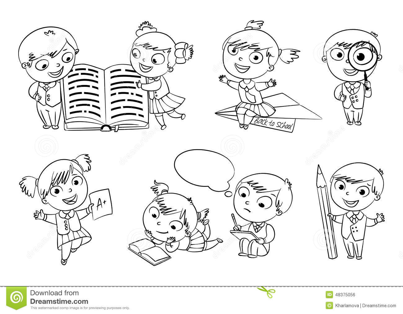 school homework coloring pages | Back To School. Coloring Book Stock Vector - Illustration ...