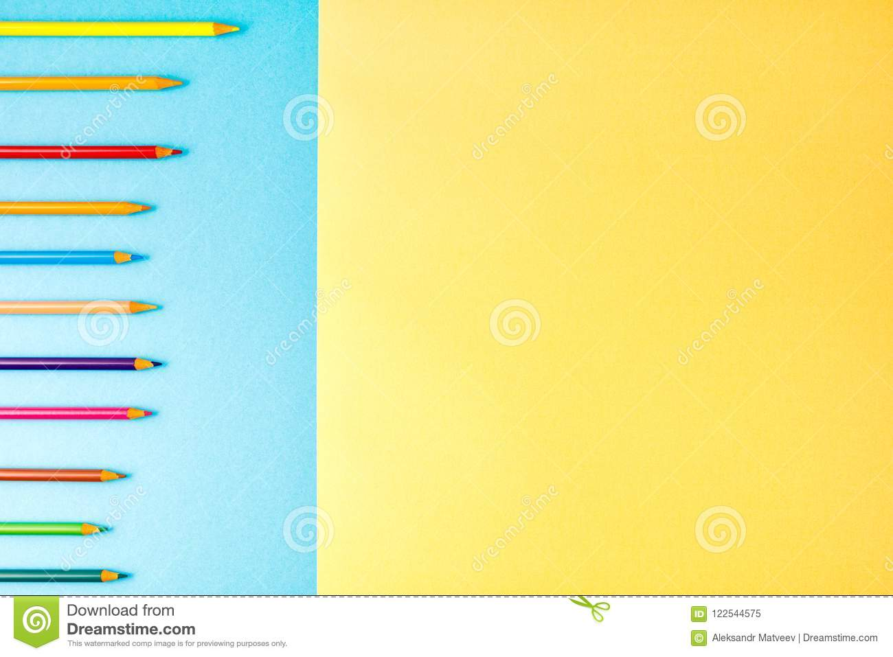 back to school concept on blue and yellow texture paper background