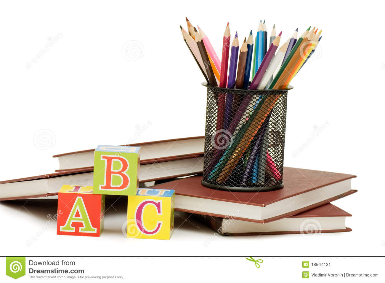 back to school concept with books and pencils stock image image of learning cover 18544131