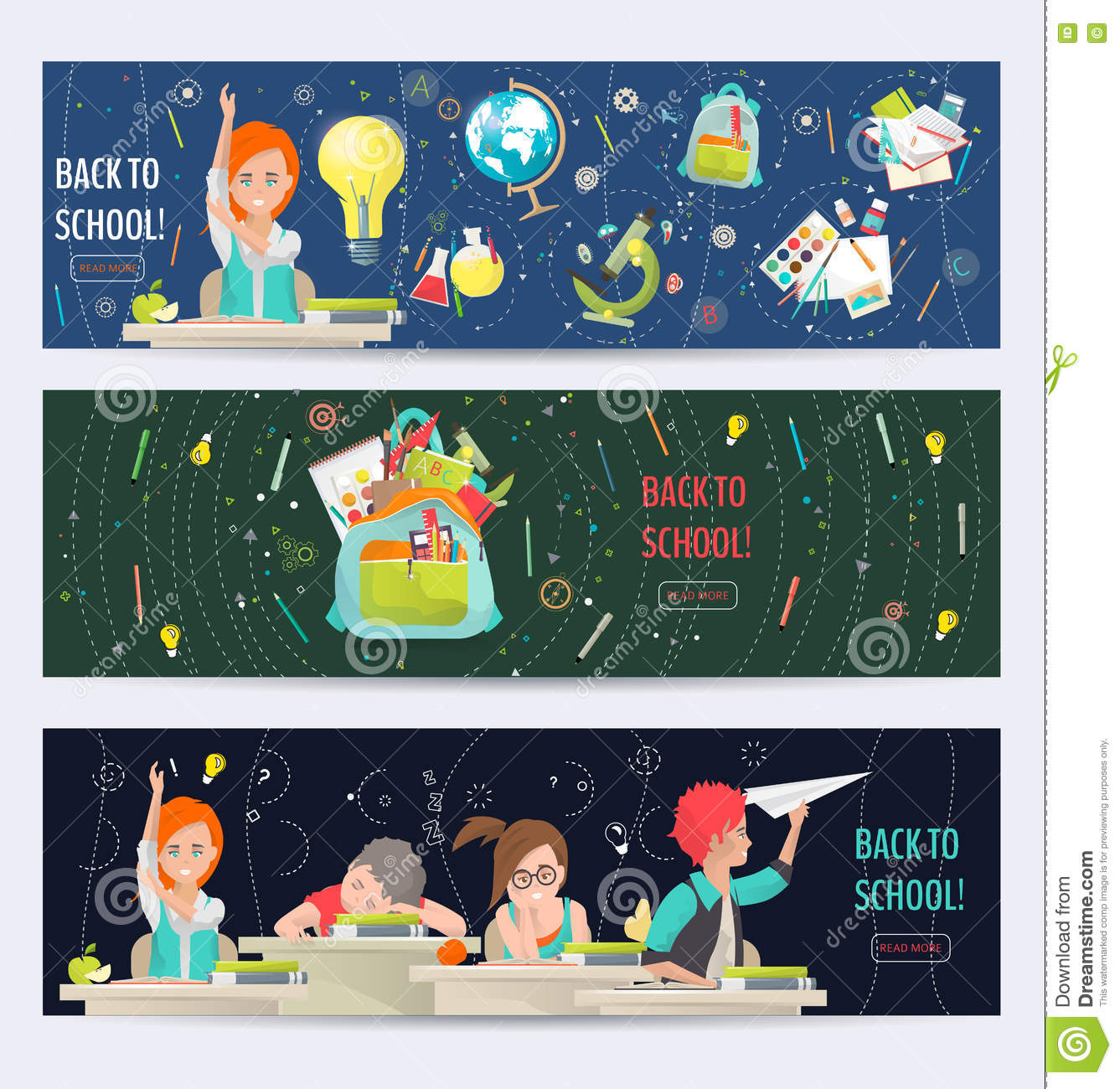 Modern Classroom Vector : Modern school lesson little students and teacher cartoon