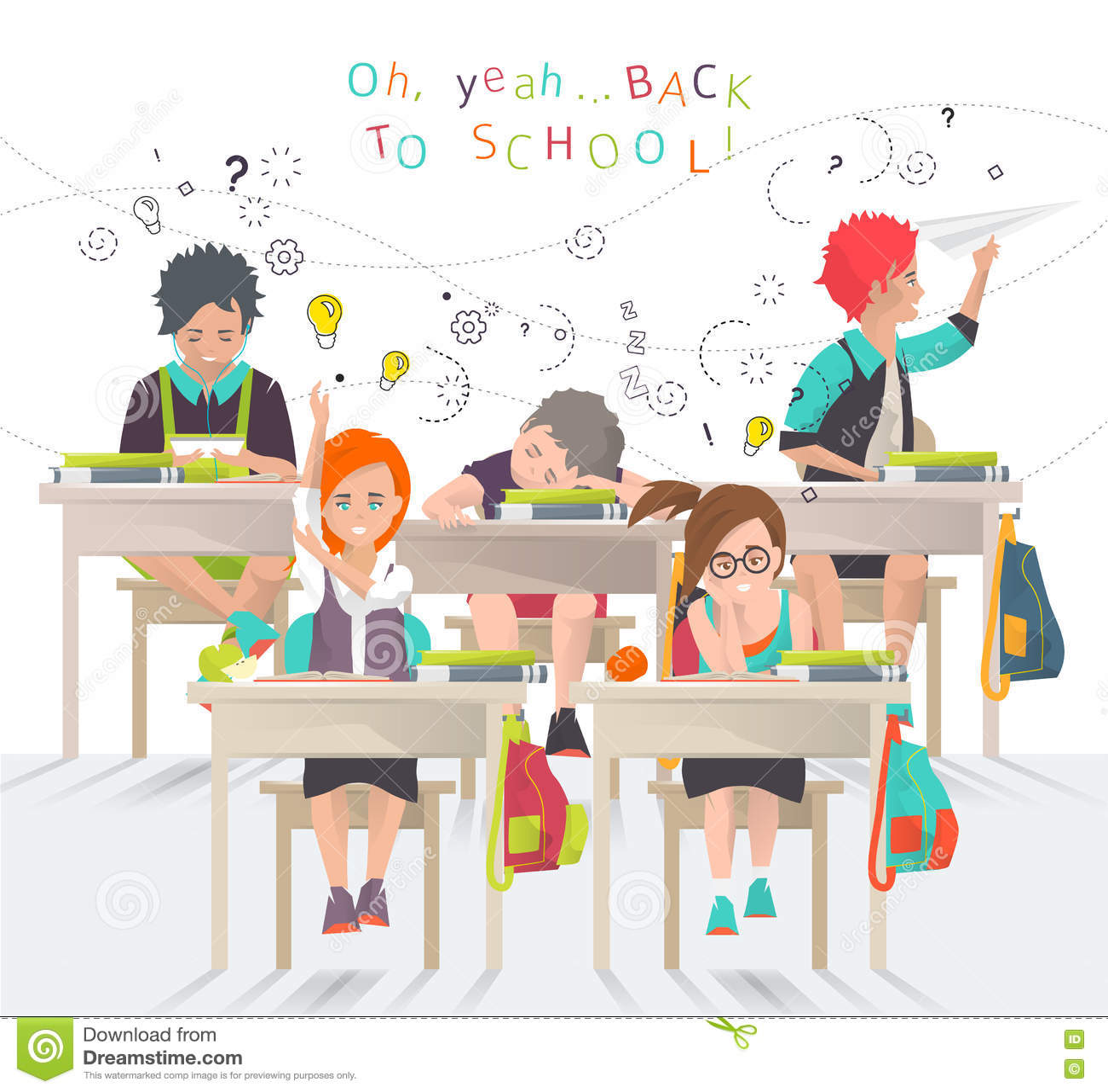 Modern Classroom Vector ~ Back to school concept vector illustration cartoondealer