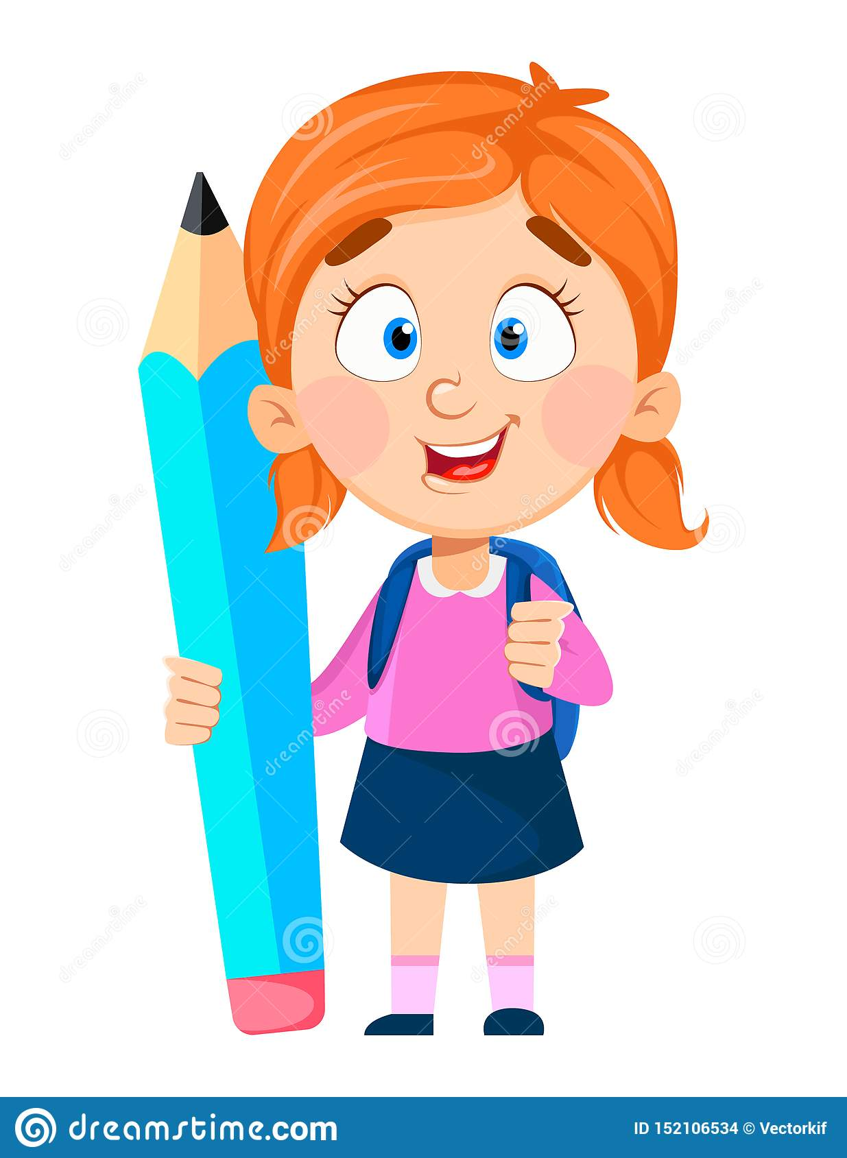 Back To School Cute Girl Holding Big Pencil Stock Vector