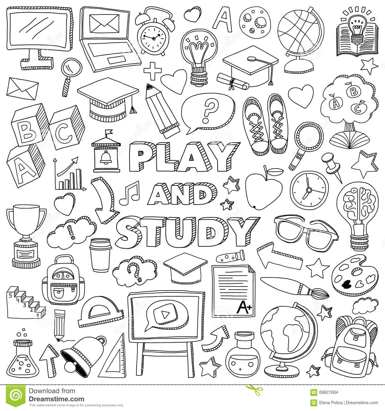 Back To School Doodle Set. Linear Icons Stock Vector