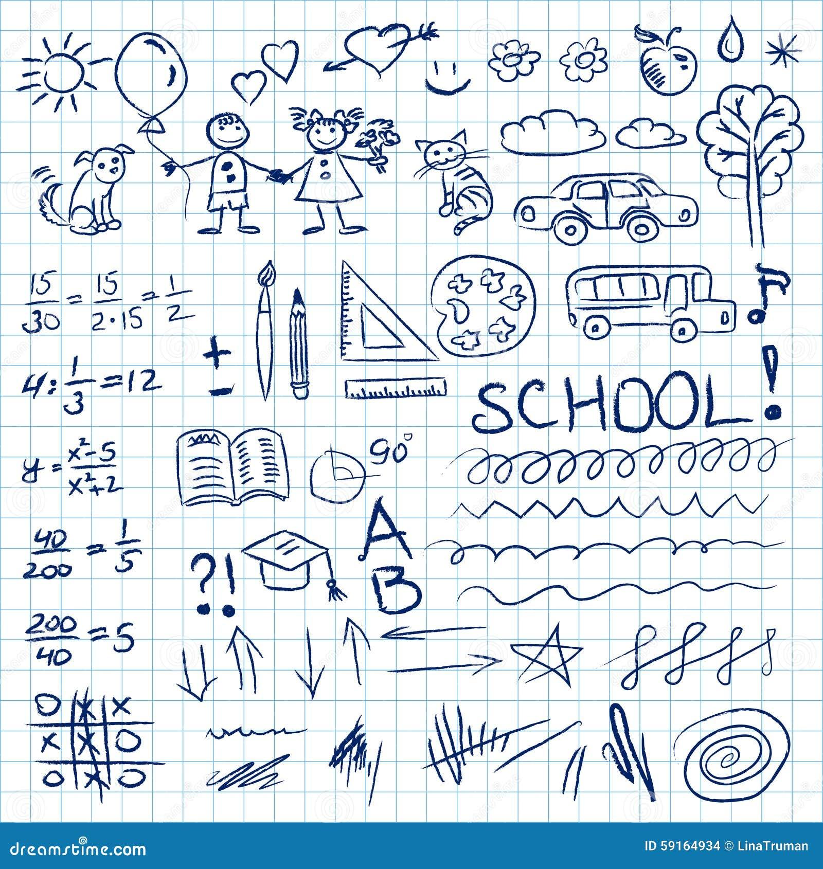 Back To School Doodles Set In Notebook. Vector