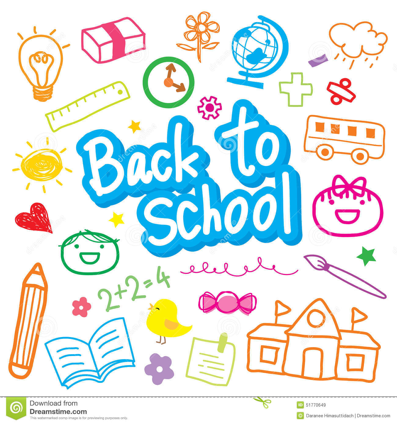 Back To School Draw Kid Cute Cartoon Vector Design Stock Vector ...