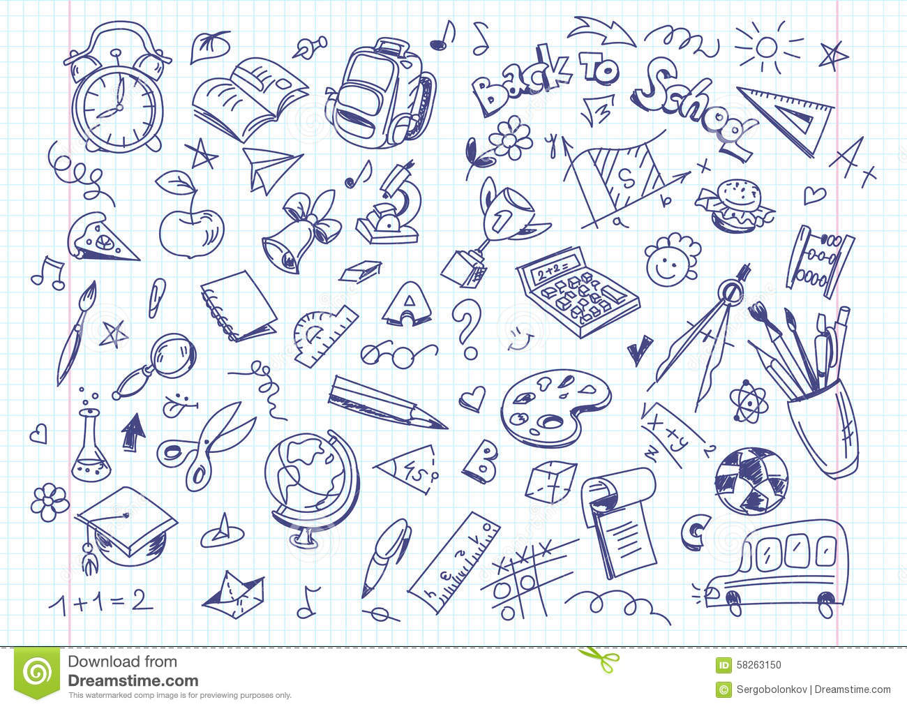 Back To School Drawing Background On Copy Book Paper Stock Vector Image 58263150