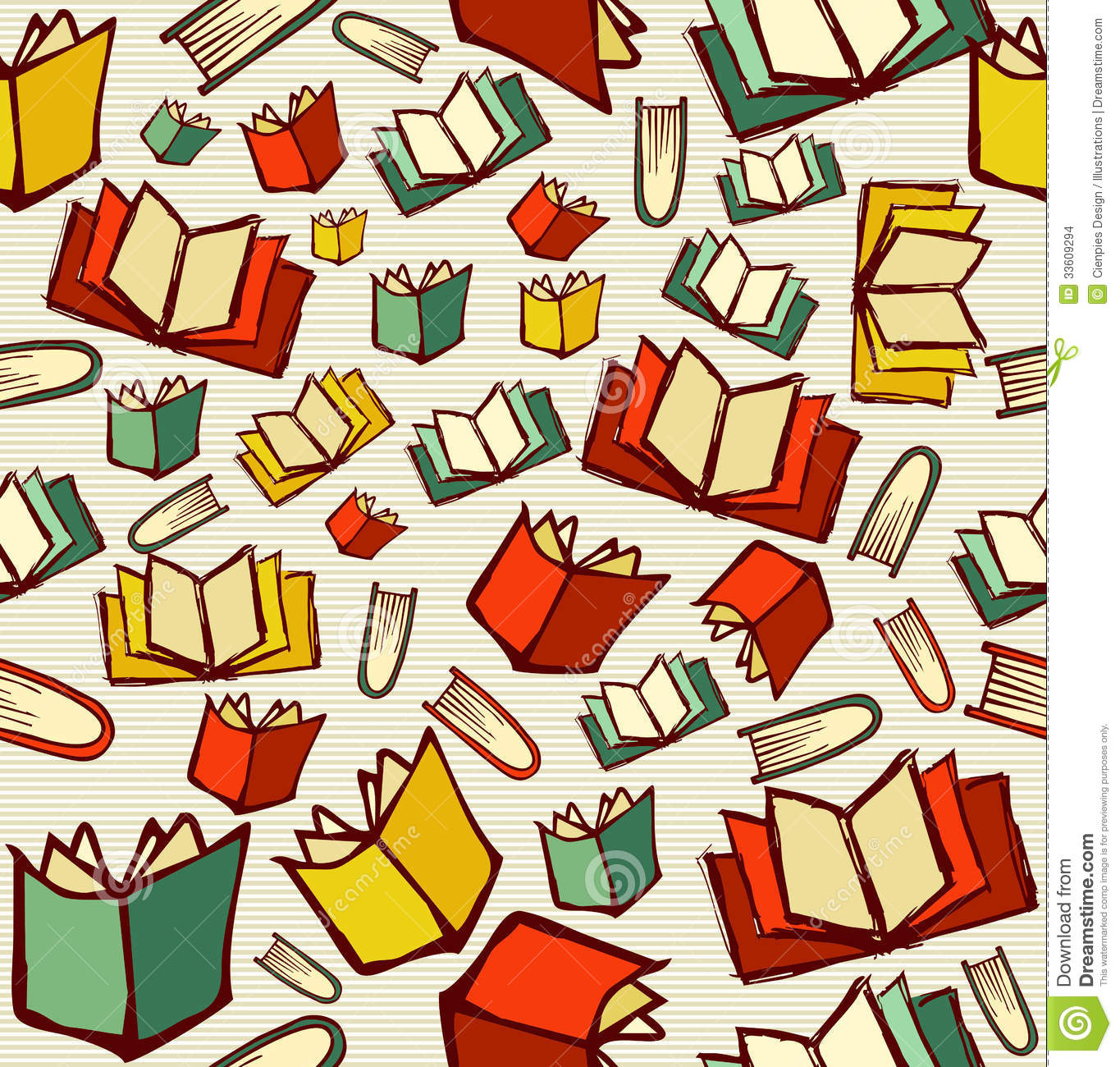 School Book Cover Background : Back to school education cartoon books seamless pattern