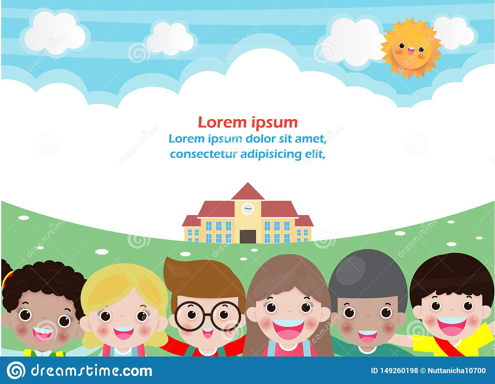Back to school, education concept,school kids, Template for advertising brochure, your text,Kids and frame,child and frame,Vector
