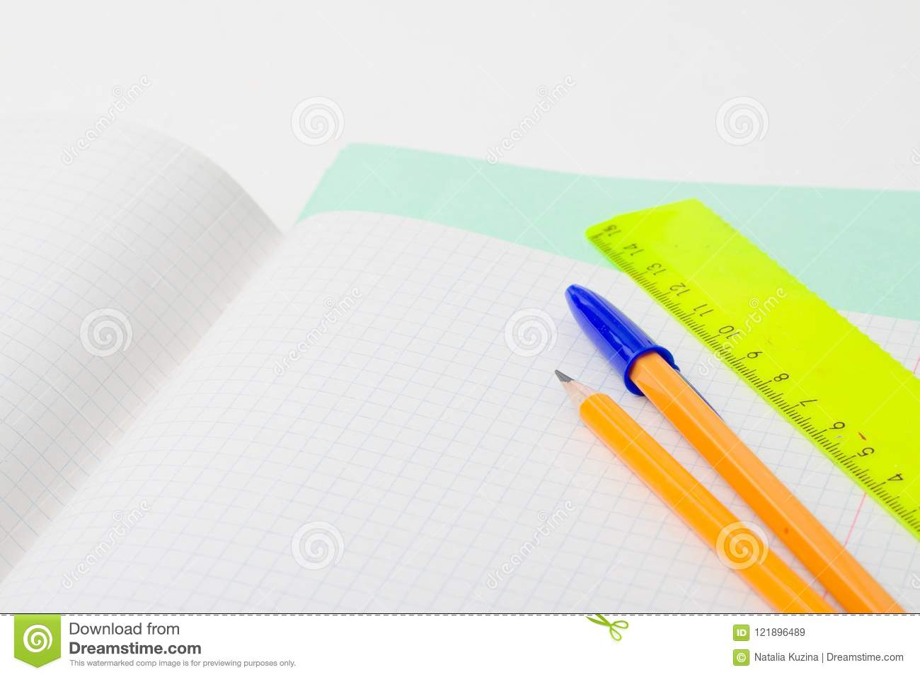 Back to school and education concept. school office supplies pencils, pen, ruler, paper, notebook. for educational new academic ye