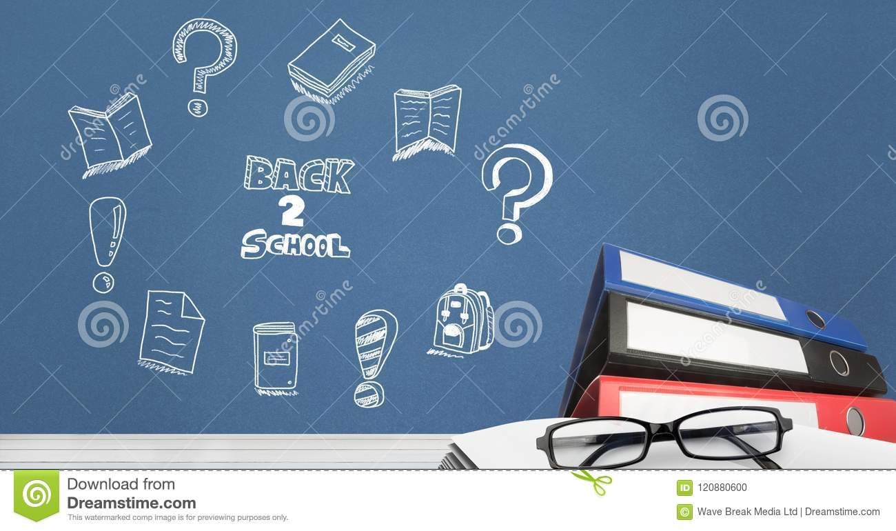 back to school education drawing on blackboard for school with