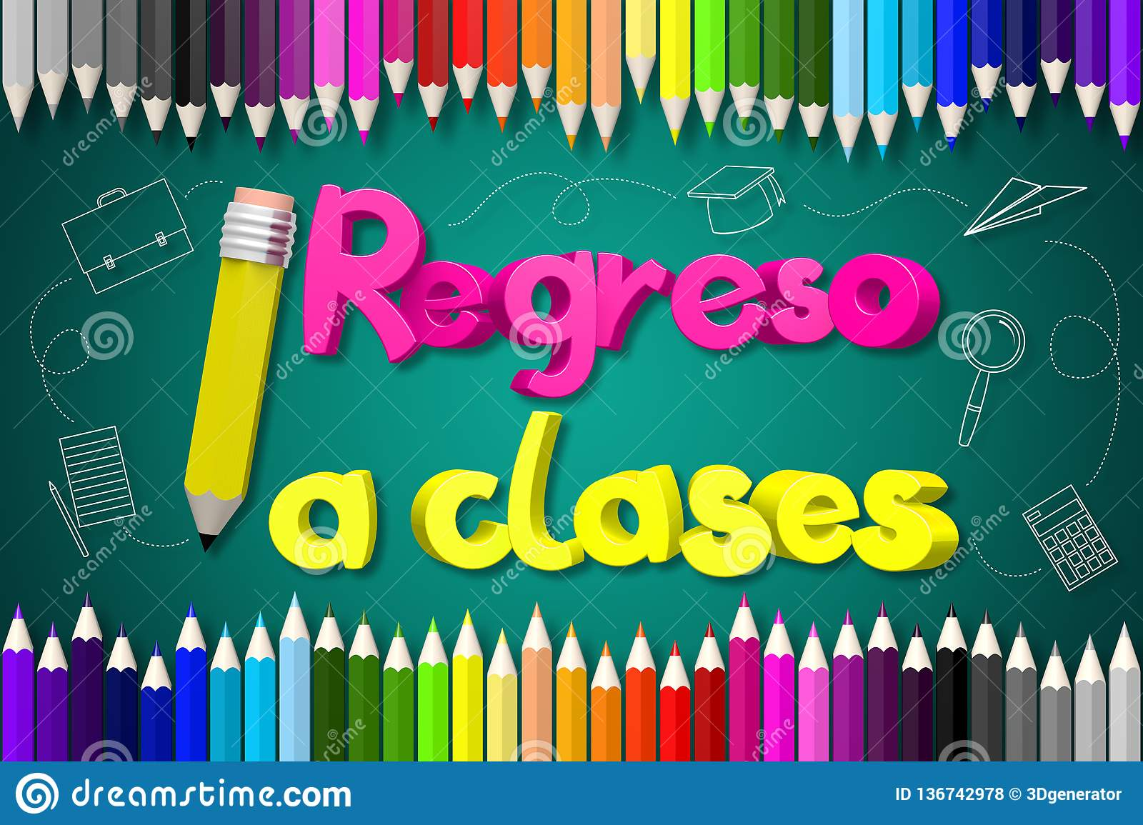 Back To School English Regreso A Clases Spanish Stock Illustration Illustration Of School Crayon 136742978