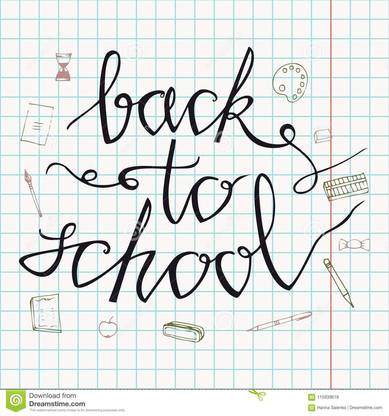 Back to school. Hand drawn back to school doodles. Paper Background. Vector illustration. Hand drawing school items on a sheet of