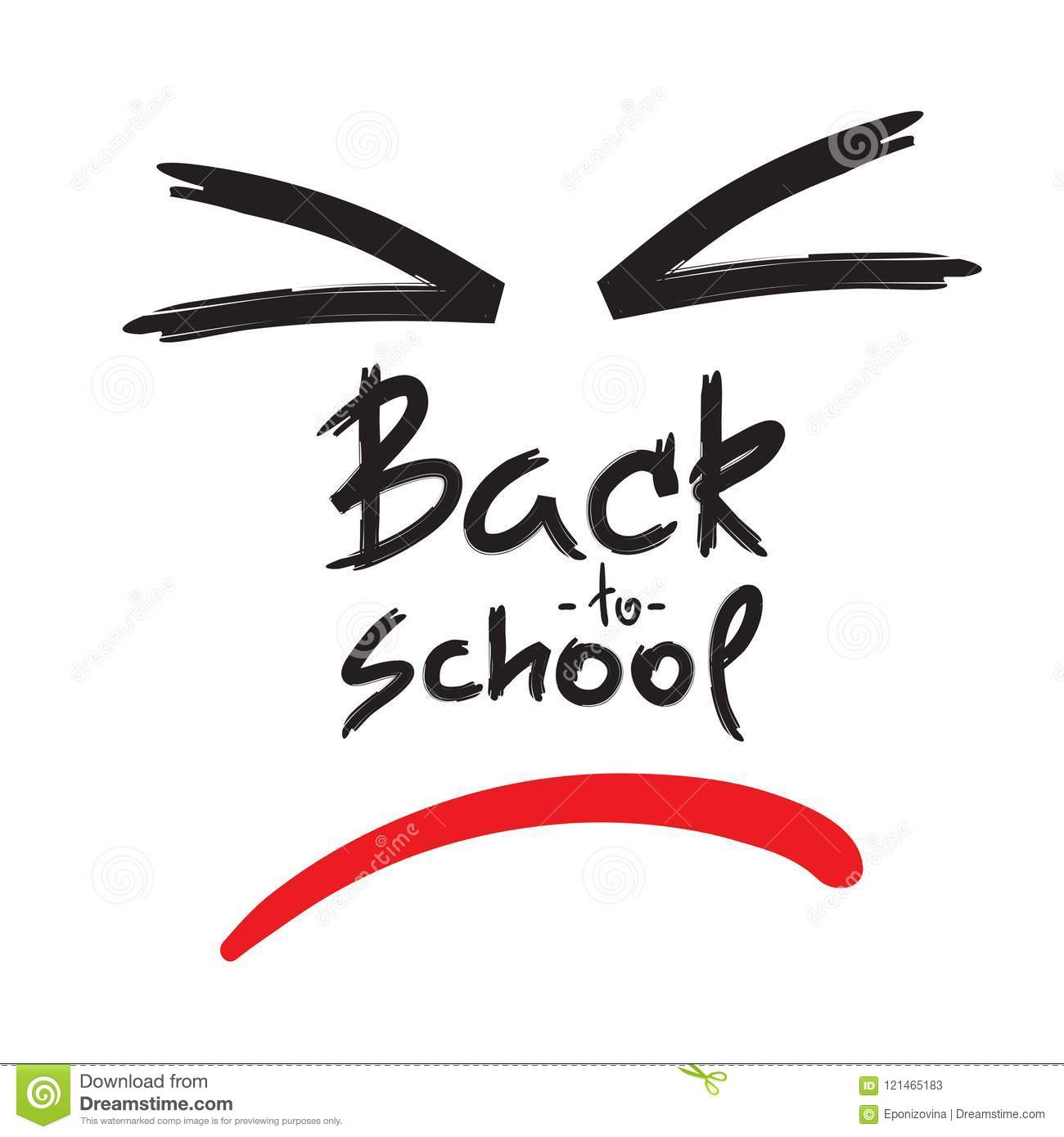 Back To School Handwritten Angry Face Funny Anti Motivational