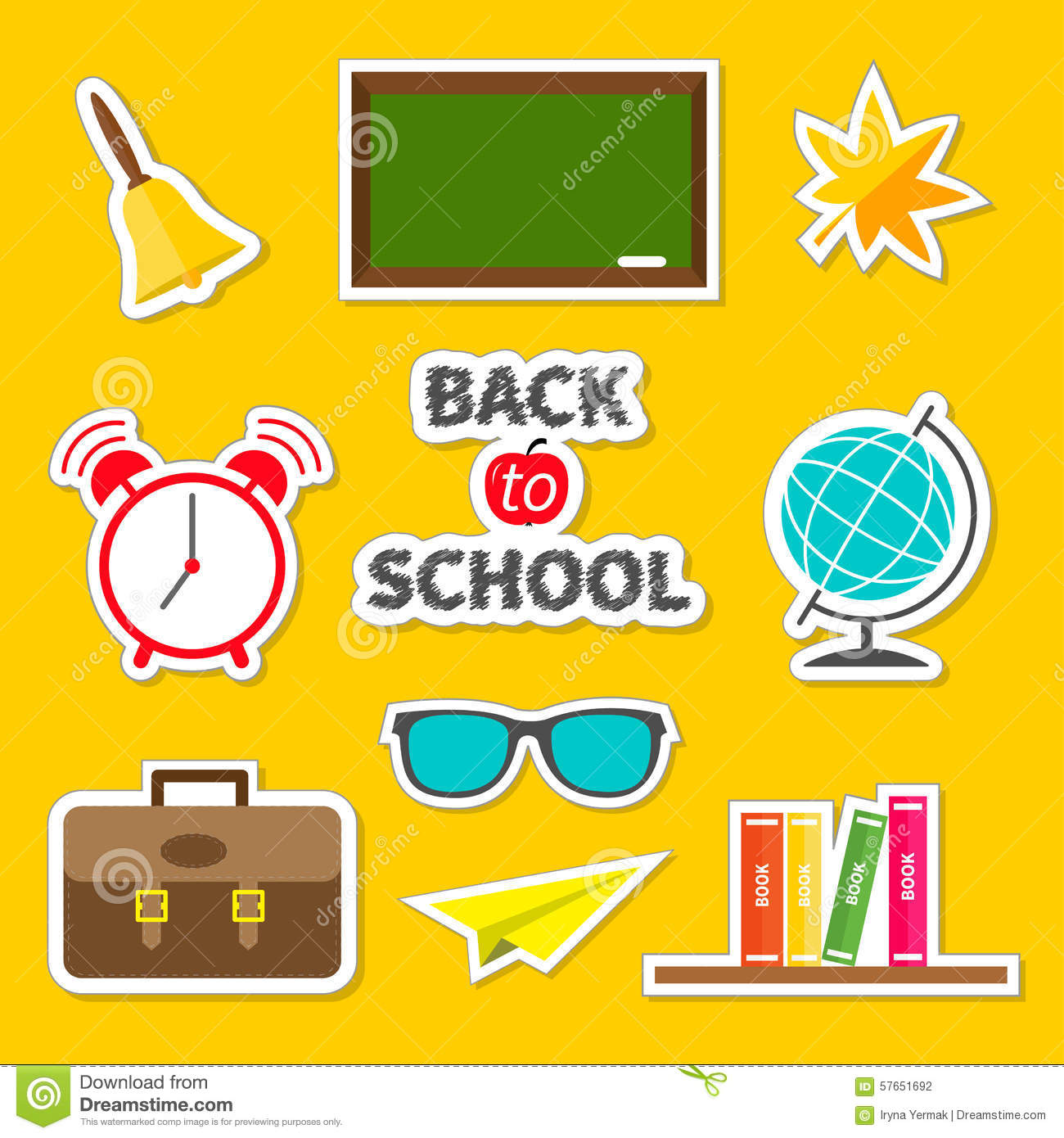 Back to school icon set Sticker collection Green