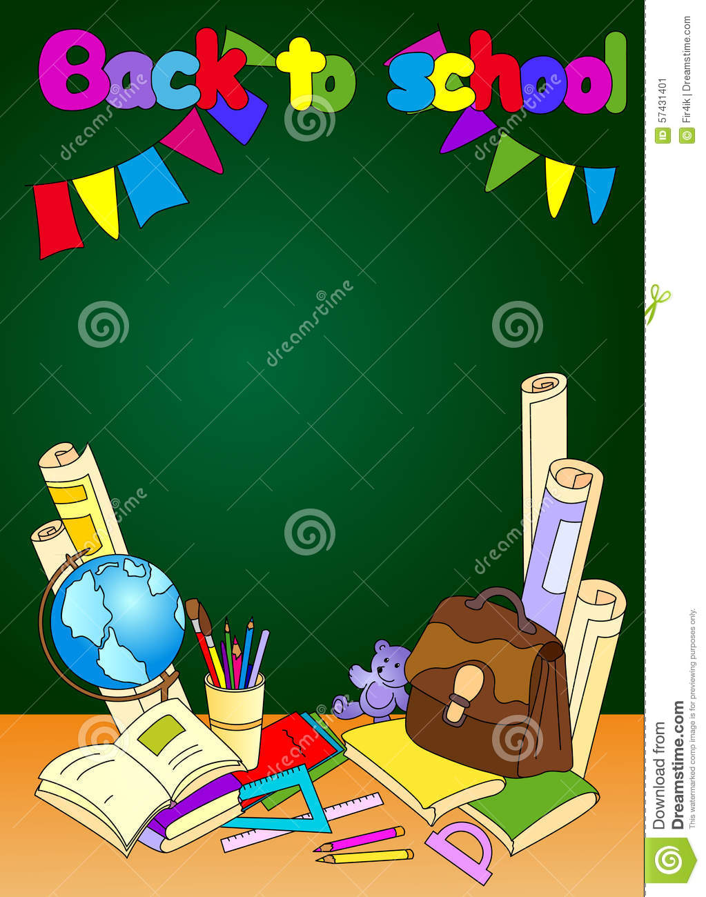 Back To School Illustration. Educational Background With Books ...