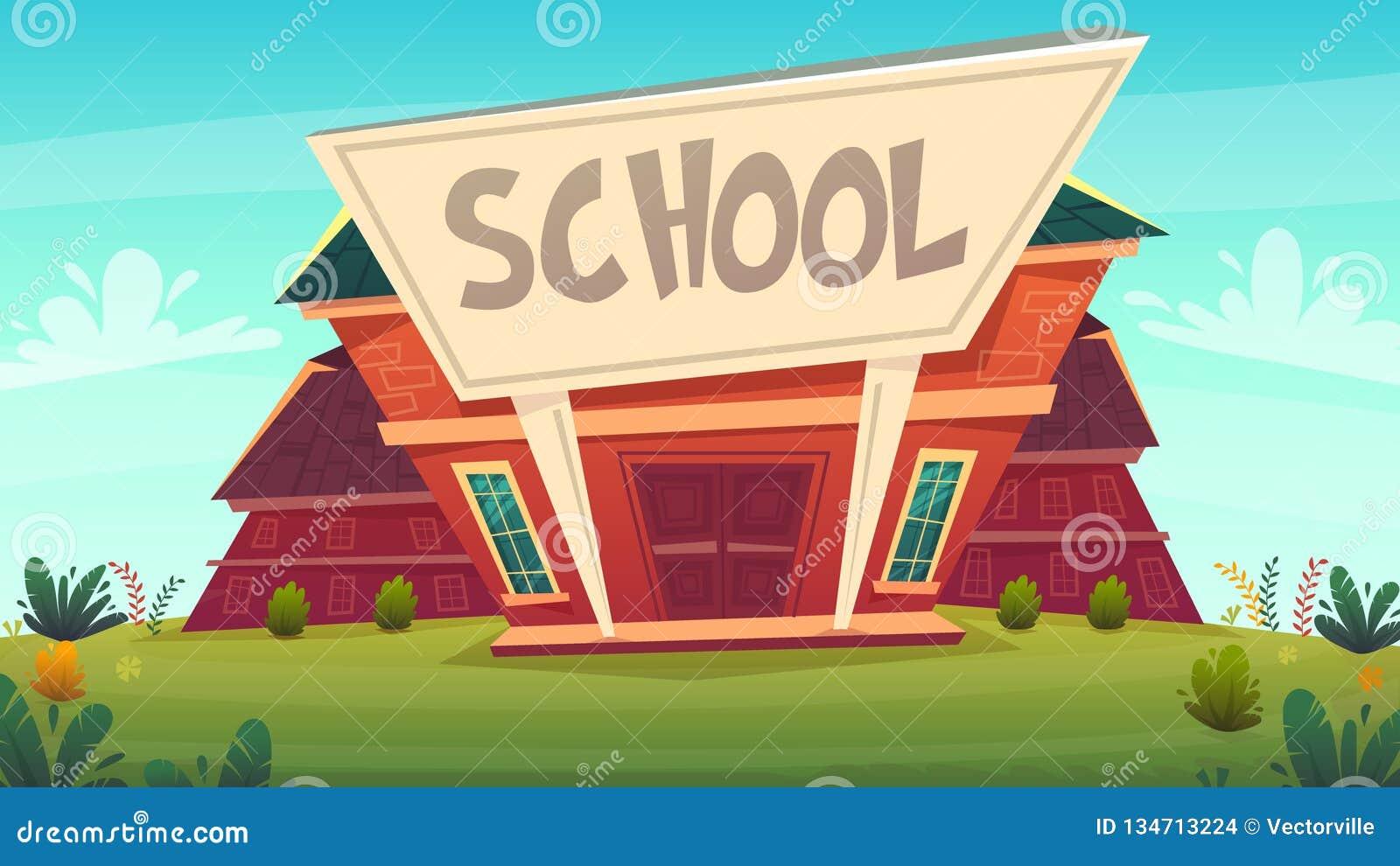 Back to school illustration . building street education fasade cartoon funny happy style . vector illustration