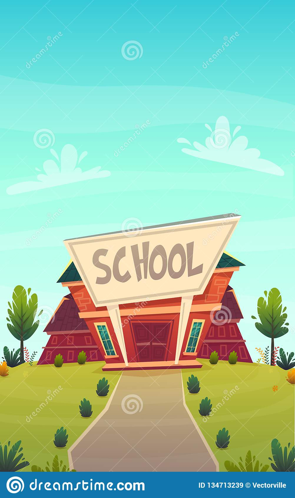 Cartoon School Background Wallpaper Place For Text Sign Funny Cheerful Card Poster Vector Illustration Stock Vector Illustration Of Design Front 134713239